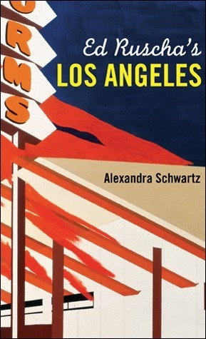 """A book cover with the title """"Ed Ruscha's Los Angeles"""" depicts a detail from an artistic rendering of a cafe sign"""