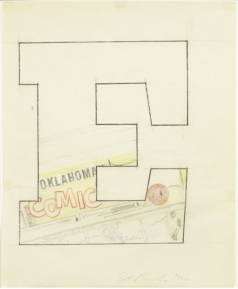 """A drawing of a large, serif letter """"E,"""" with the bottom portion filled with a newspaper masthead that says """"Oklahoma COMIC"""""""