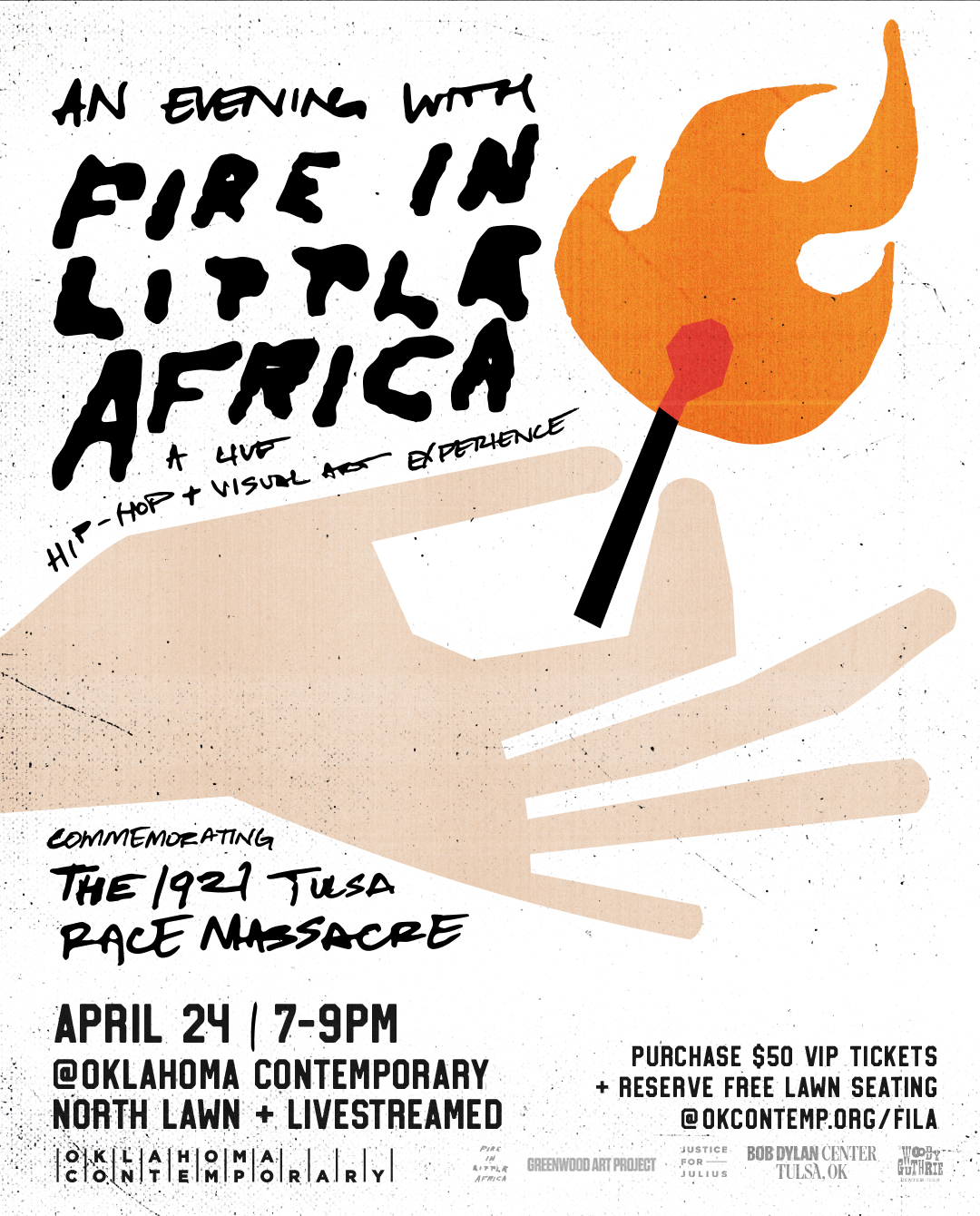 """Poster with a stylized hand holding a match with headline """"An Evening with Fire in Little Africa."""""""