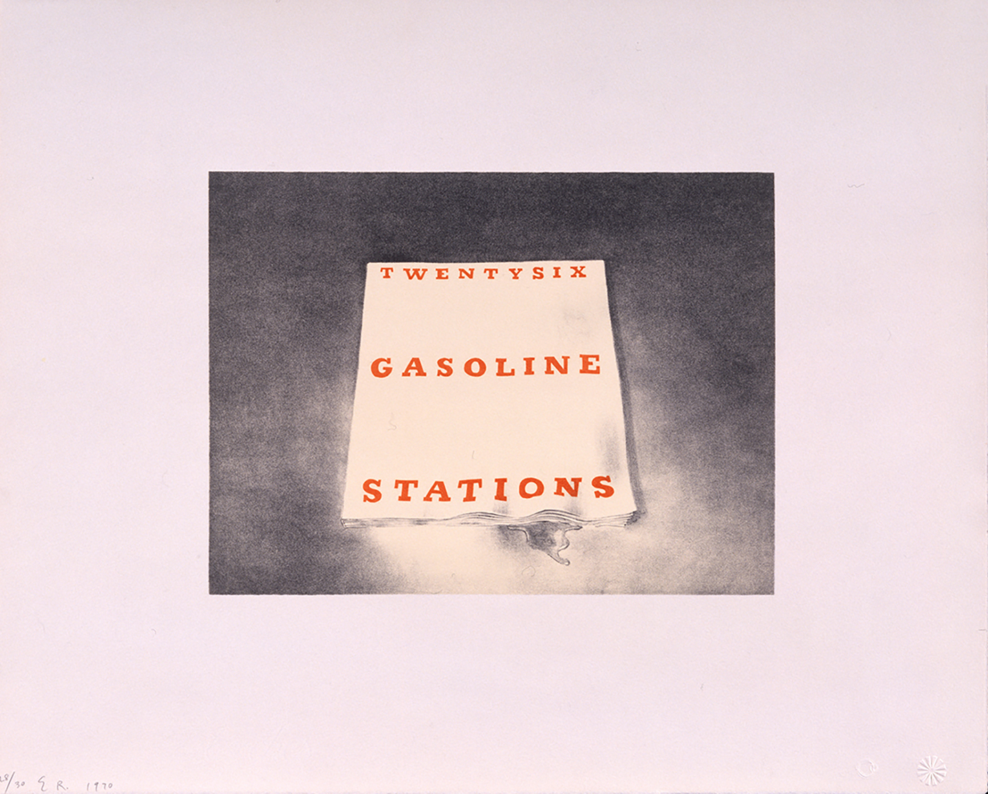 An painting of a photograph, featuring a stark white book with bold orange text: Twentysix Gasoline Stations