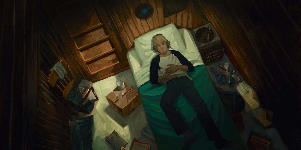A digital animation of a young adult listening to music on headphones while lying in bed