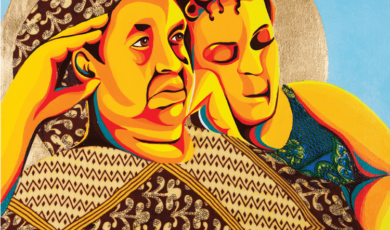 Two figures wearing geometric patterns recline together