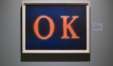 """A painting of the letters """"O"""" and """"K"""" in orange on a blue background"""