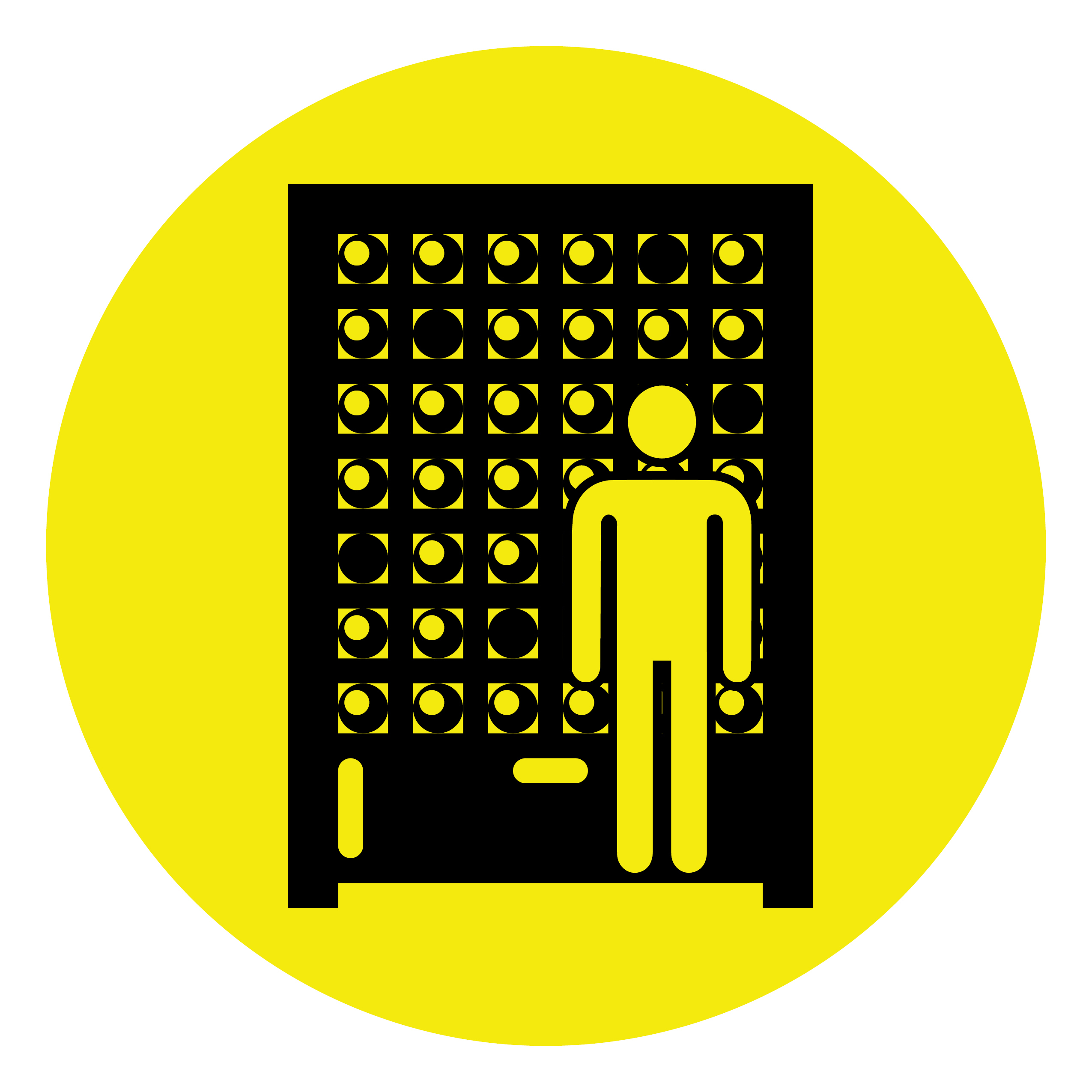 A yellow circle contains the image of a figure standing in an early computer system