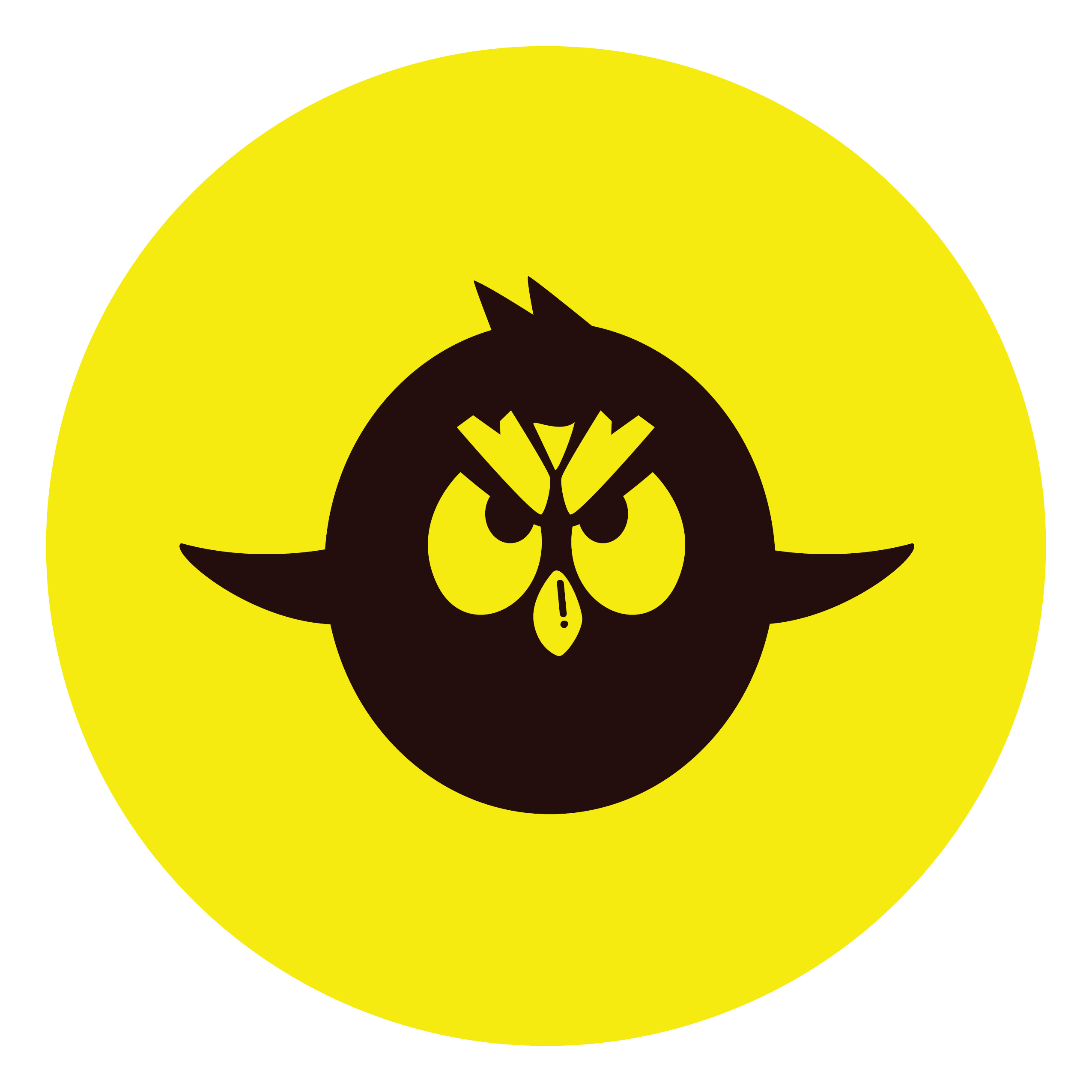 An image of a black angry bird character contained in a yellow circle
