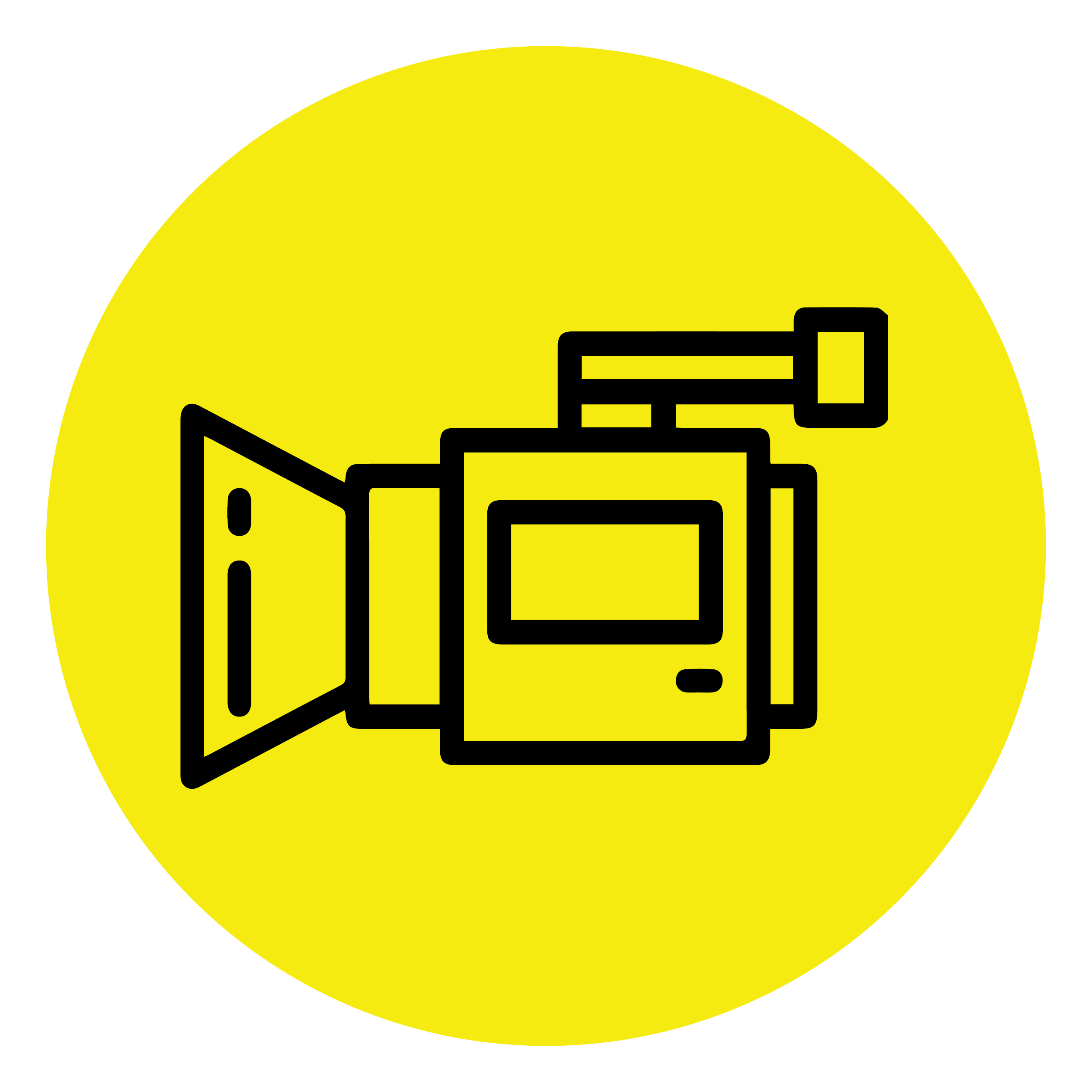 A yellow circle contains the image of a video camera