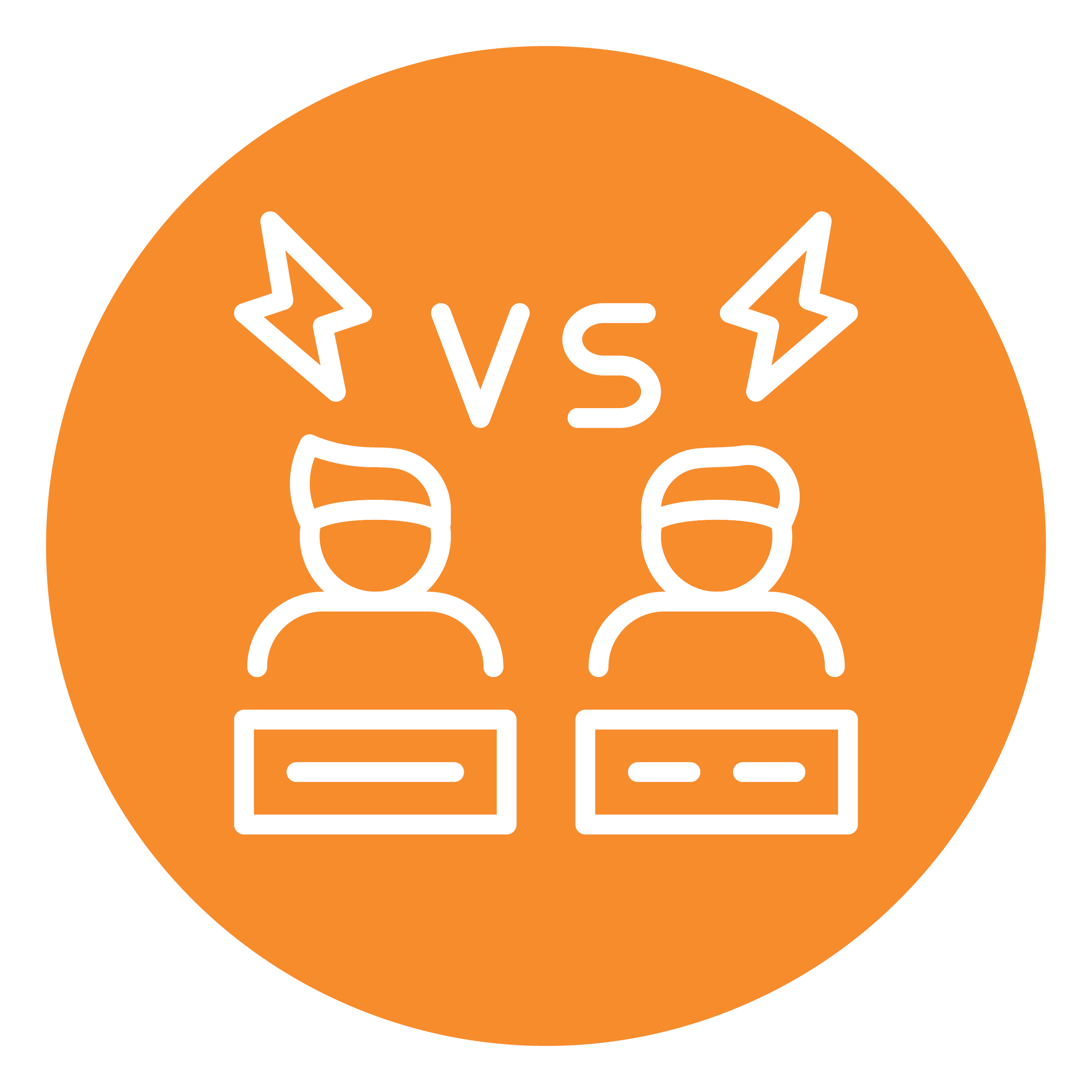 """An orange circle contains two figures with keyboards and the word """"vs"""" above them"""