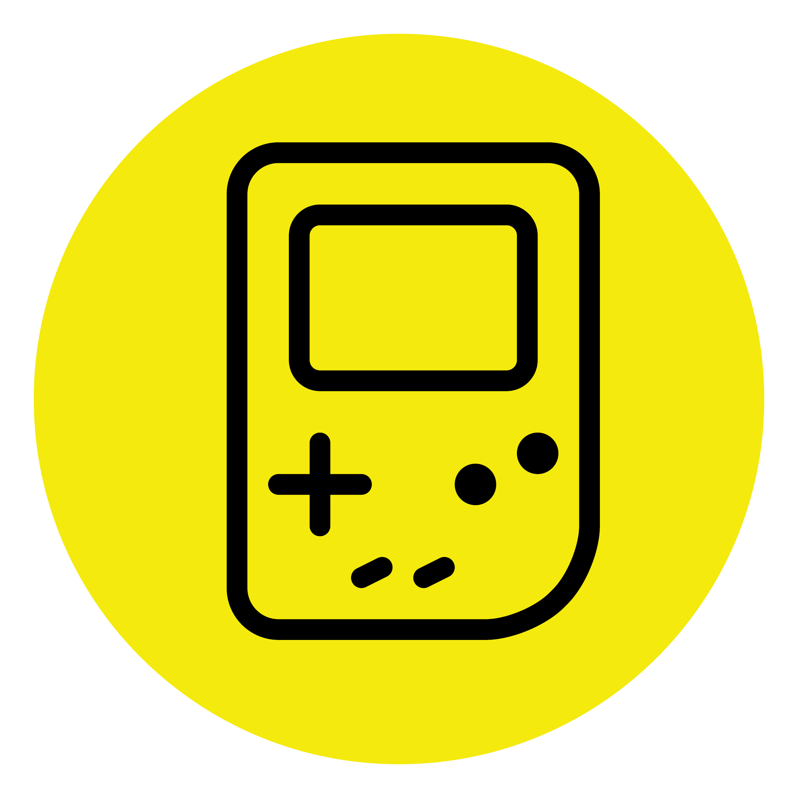 A yellow circle contains the image of an original GameBoy