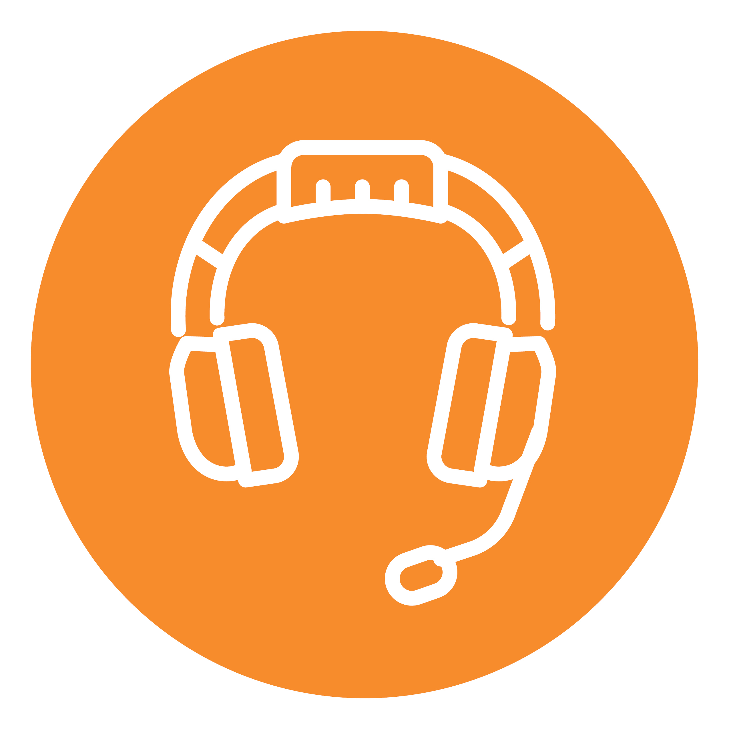 An orange circle contains the image of a gaming headset