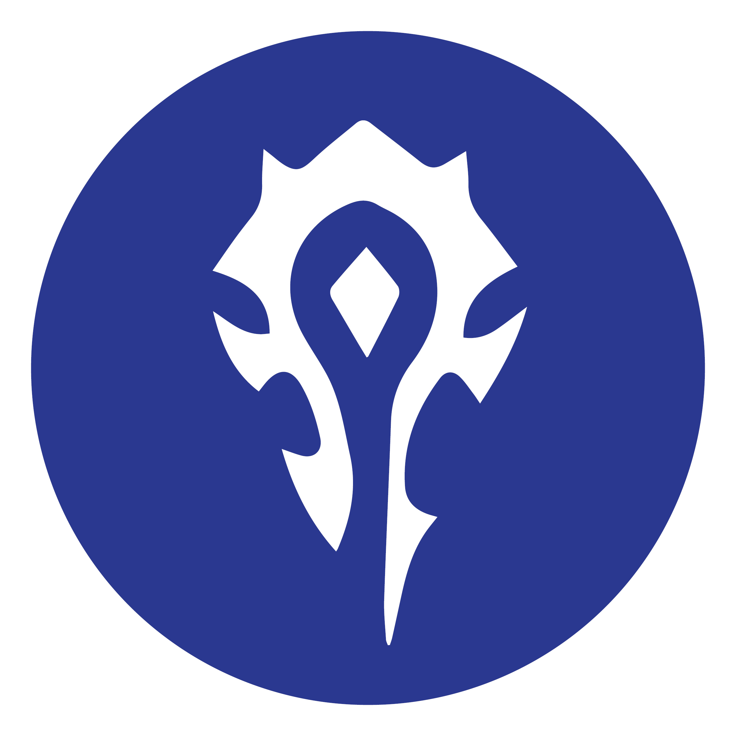 A white, spikey abstract symbol on a blue circle