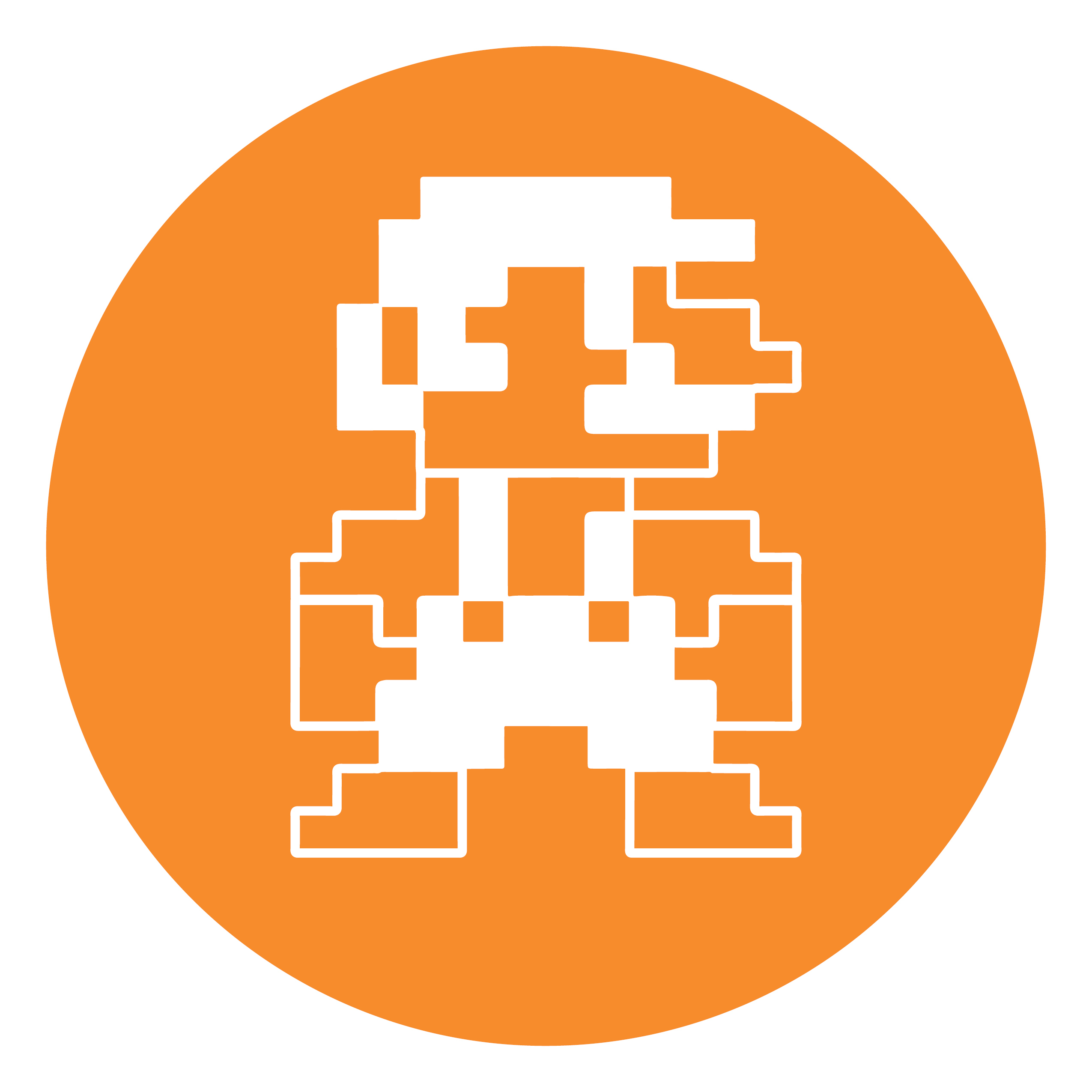 An orange circle contains an image of an 8-bit game character