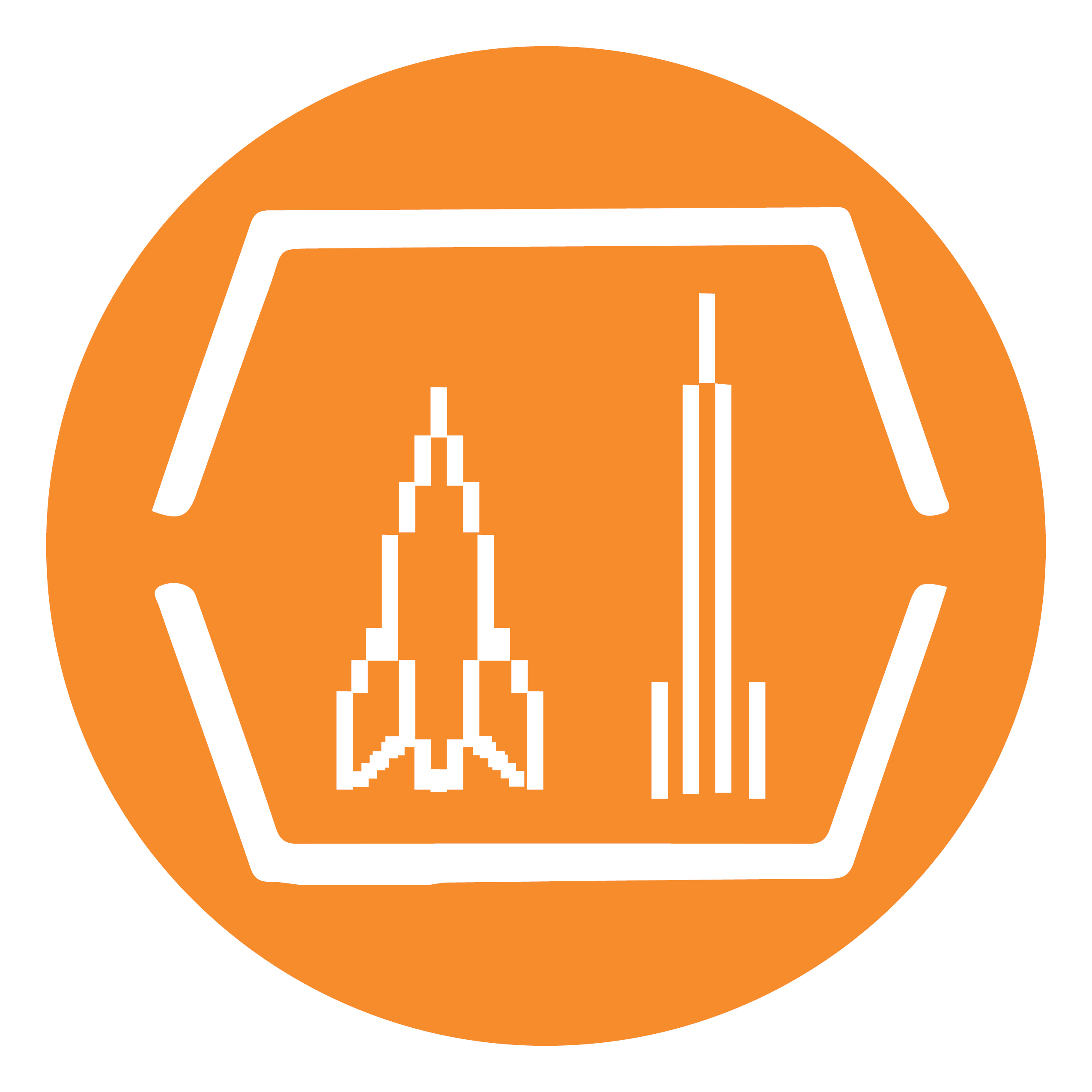 An orange circle contains two pixelated rockets within a hexagonal frame