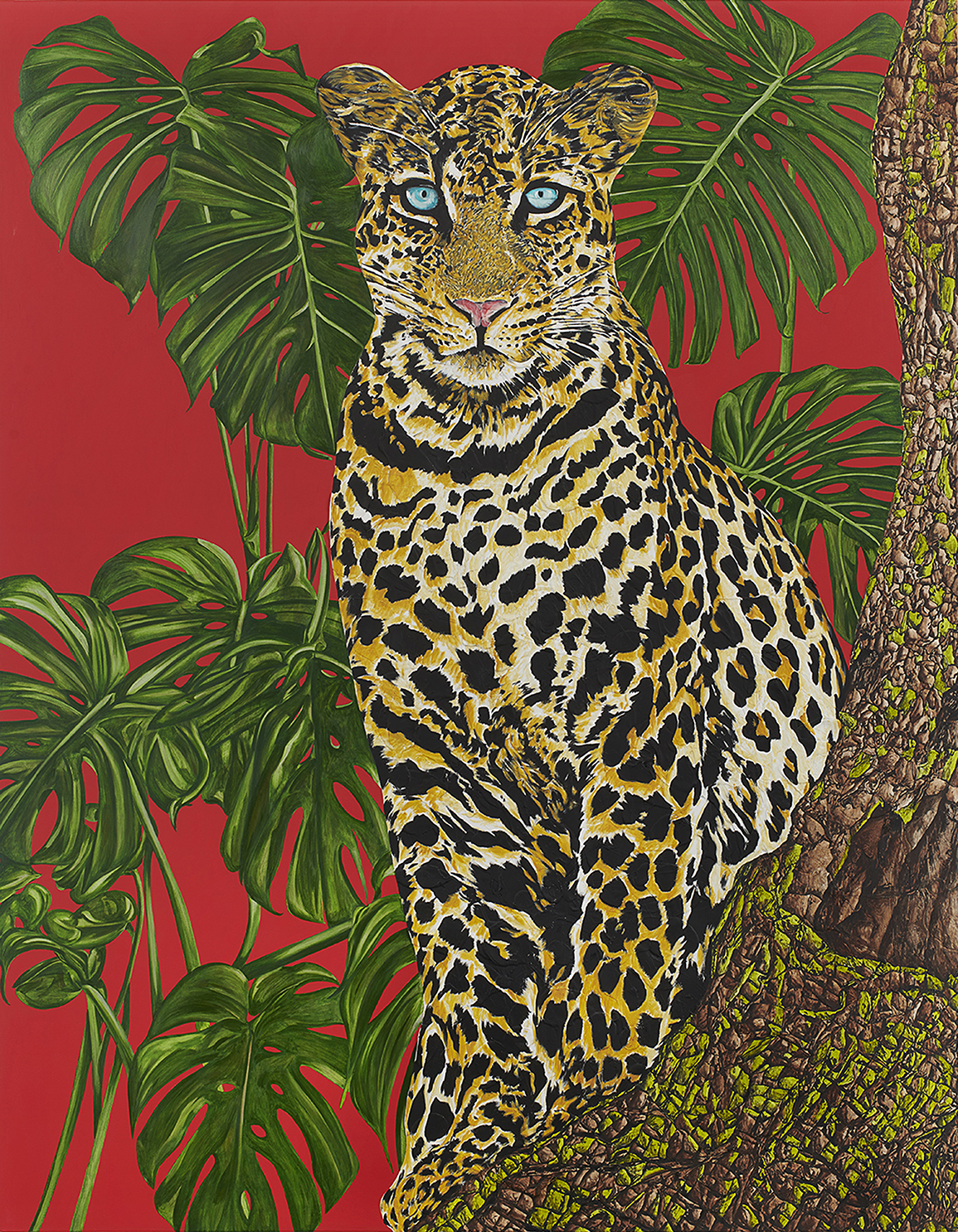 A painting of a leopard amid tropical plants with a red background