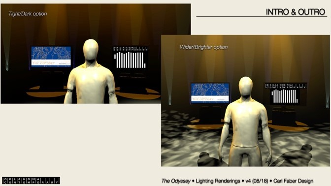 Computer models depict a human figure in a mock theater