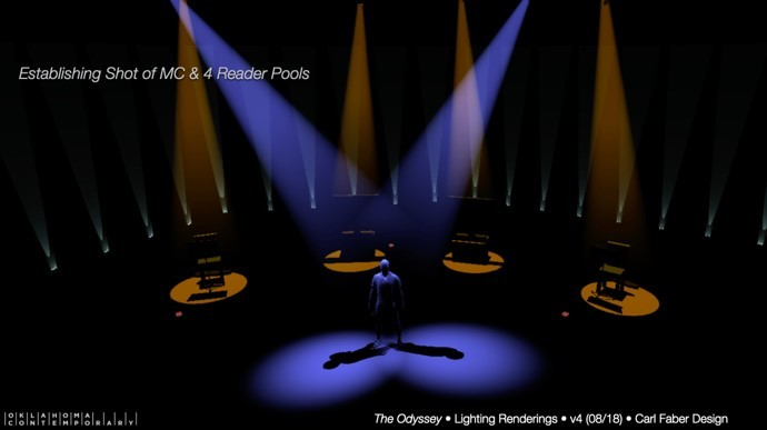 A computer model depicts a spotlit figure in an empty theater space