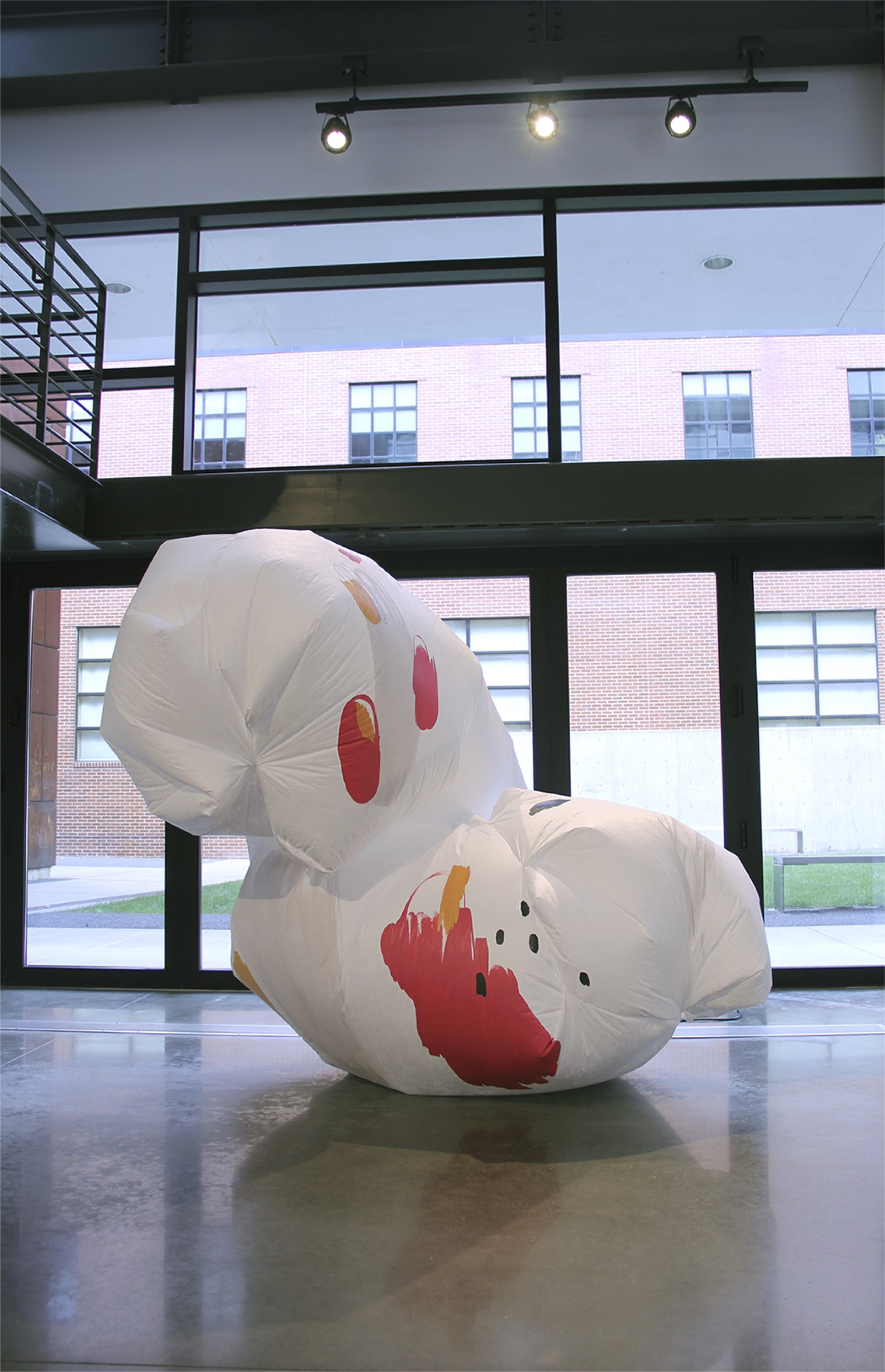 An abstract inflatable sculpture on display in an art gallery