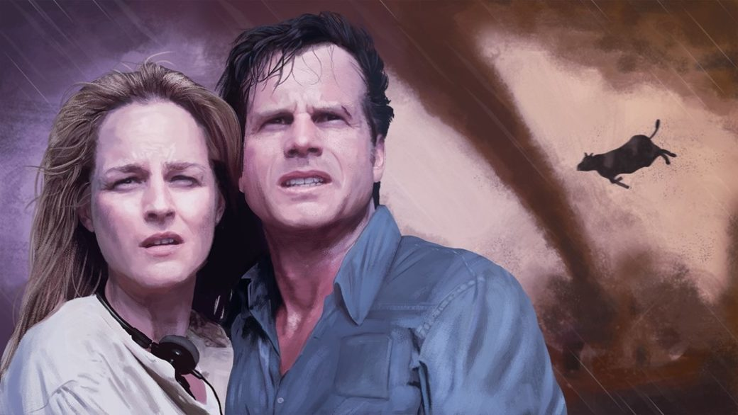 An artistic rendering of two people holding each other as a tornado rages in the background with a cow flying through the air