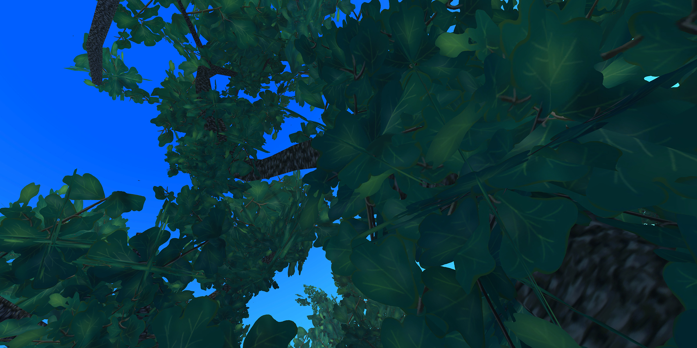 A computer-rendered drawing looking up though leaves and branches at the blue sky