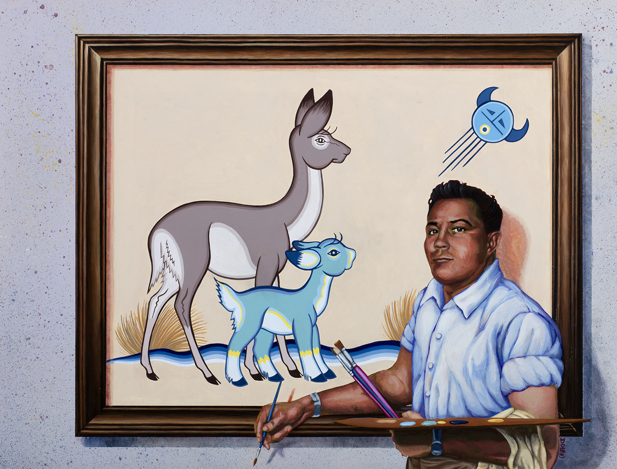 A hyper-realistic painting of an artist with dark features standing in front of a painting of deer