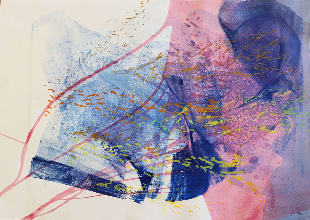 An abstract work of art, rendered in blues, pinks and yellows
