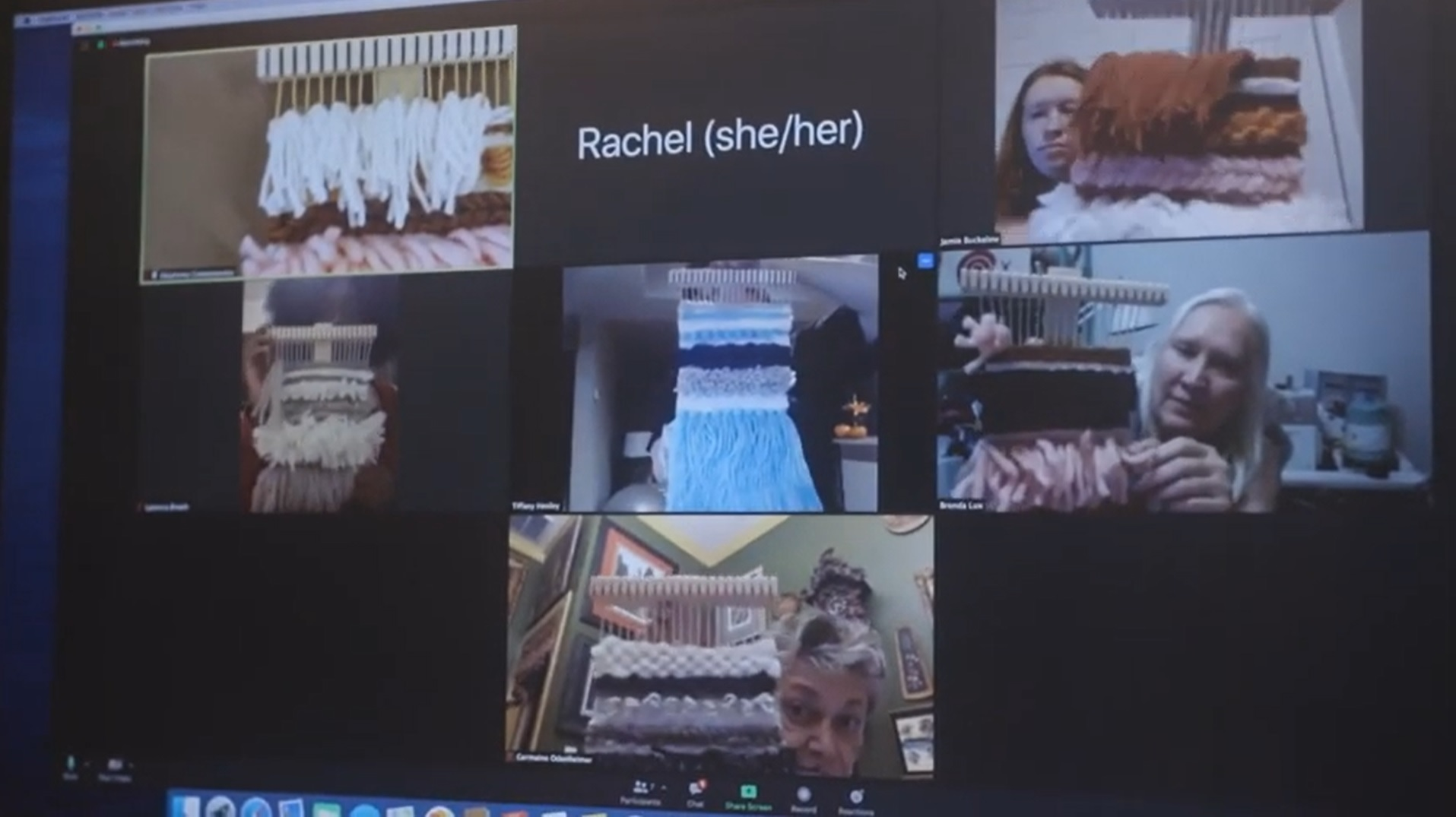 A grid of video chat screens depicting people presenting works of fiber art
