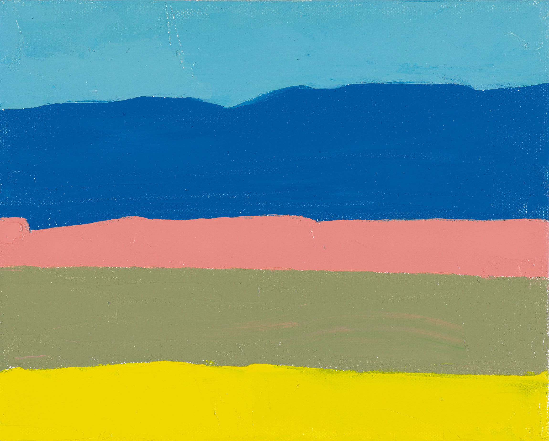 An abstract landscape composed of five swaths of color: light blue, darker blue, soft pink, olive green and yellow