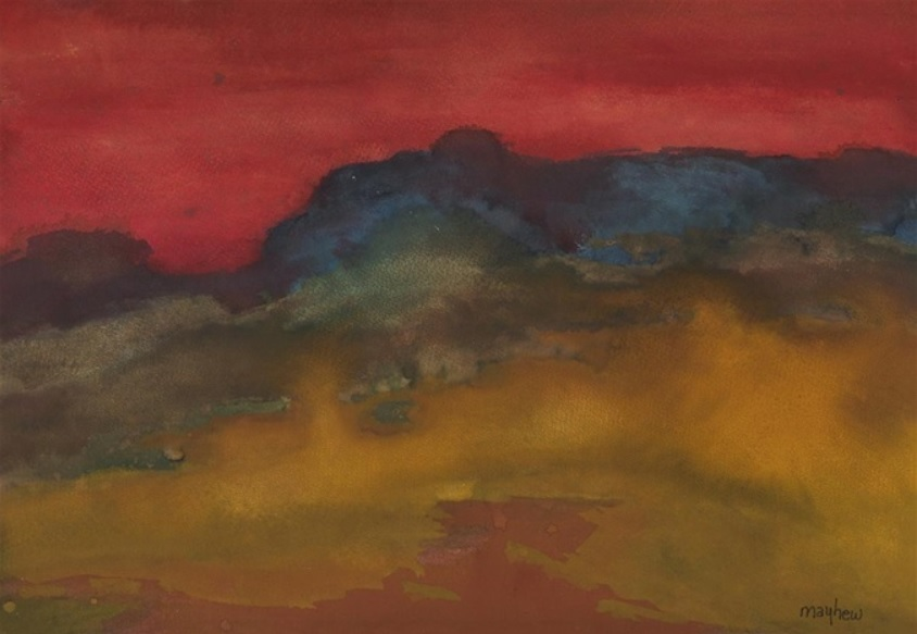 A moody, abstract landscape featuring dark yellows, reds and blues