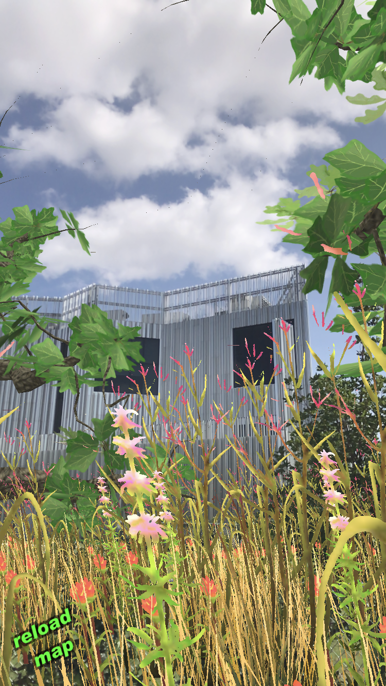 A digitally manipulated image featuring digital flowers and grasses surrounding a contemporary building