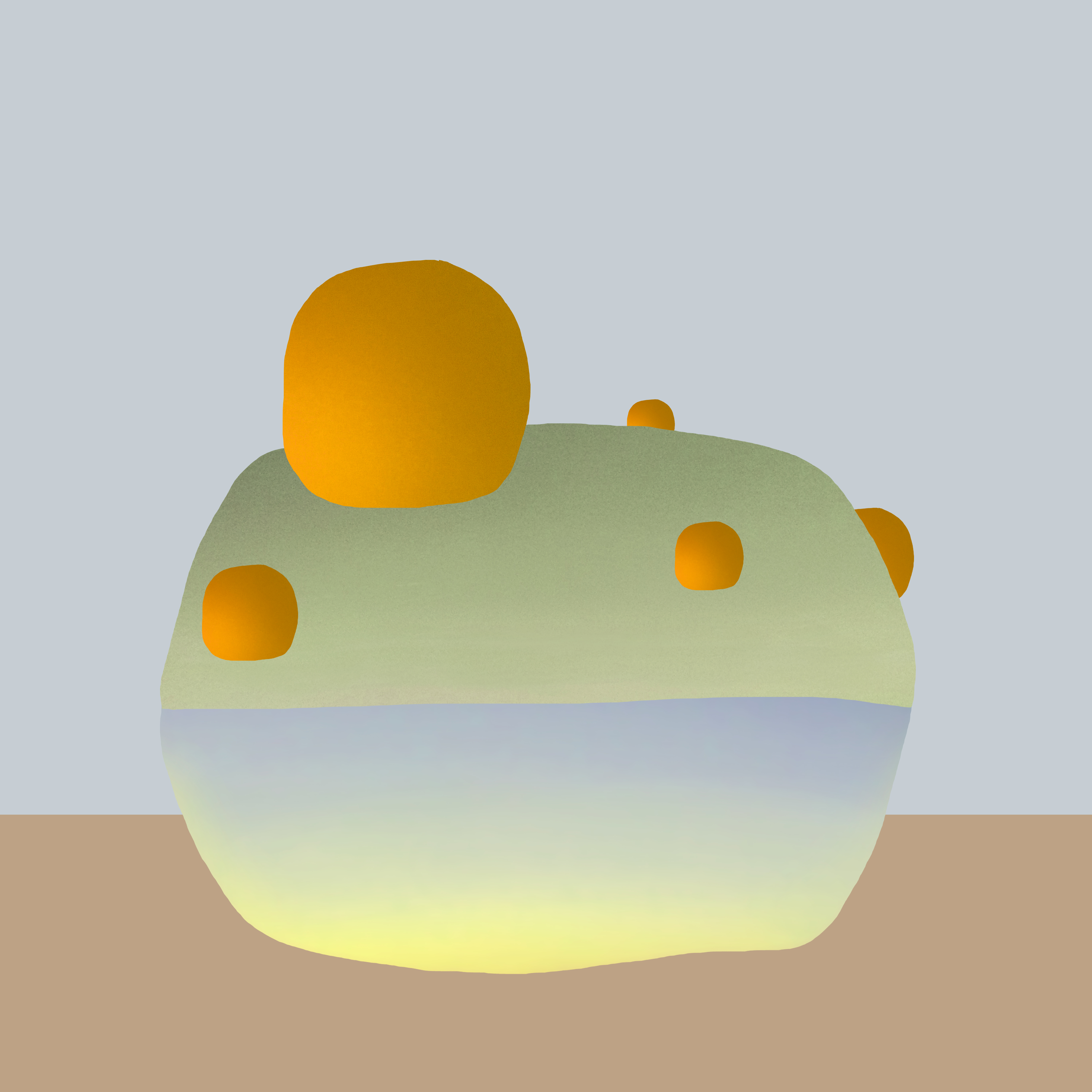 An abstract composition featuring a large spherical shape with smaller orange spheres surrounding