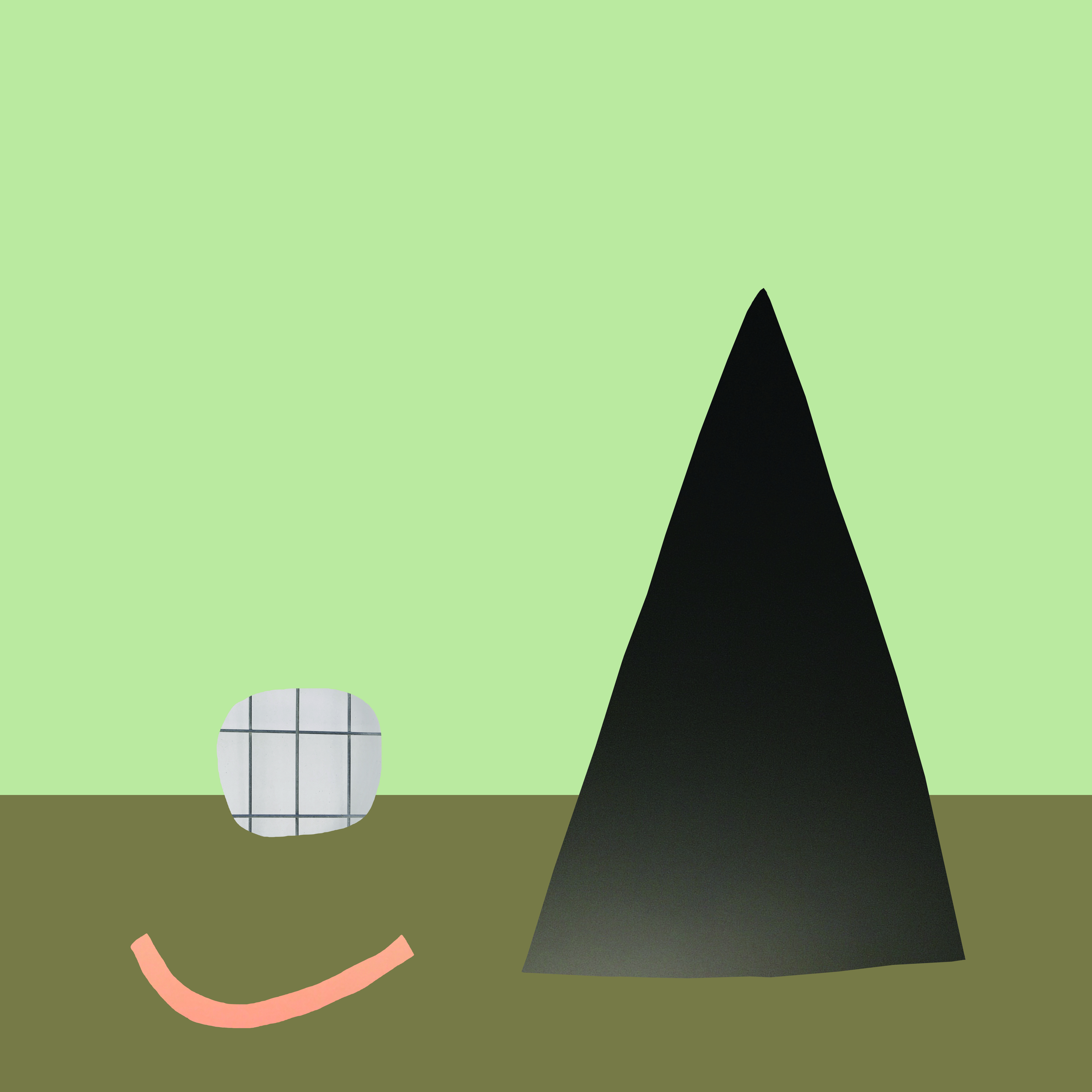 An abstract landscape featuring an inverted triangle, a sphere with a grid pattern and a small, curved pink line against a light green background