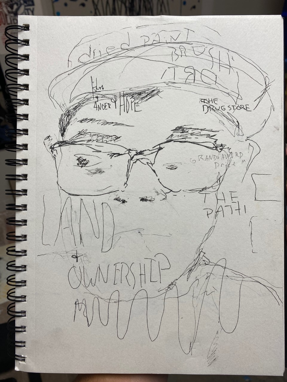 A rough sketch of a person with glasses, featuring abstract doodles and text