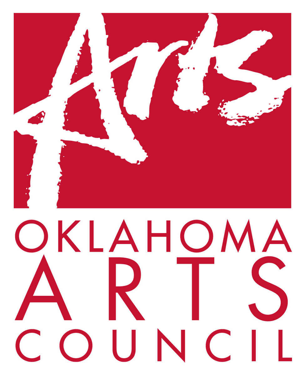 Red-and-white logo featuring the following text: Oklahoma Arts Council