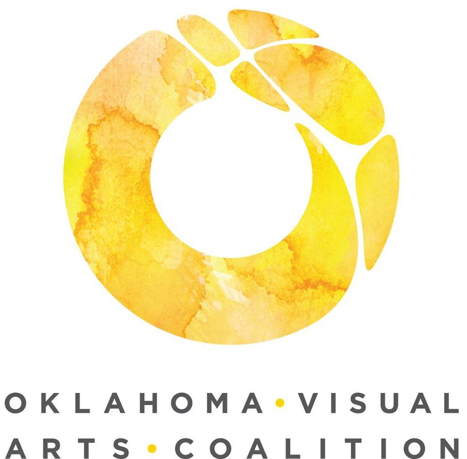 Circular yellow logo with the following text beneath: Oklahoma Visual Arts Coalition