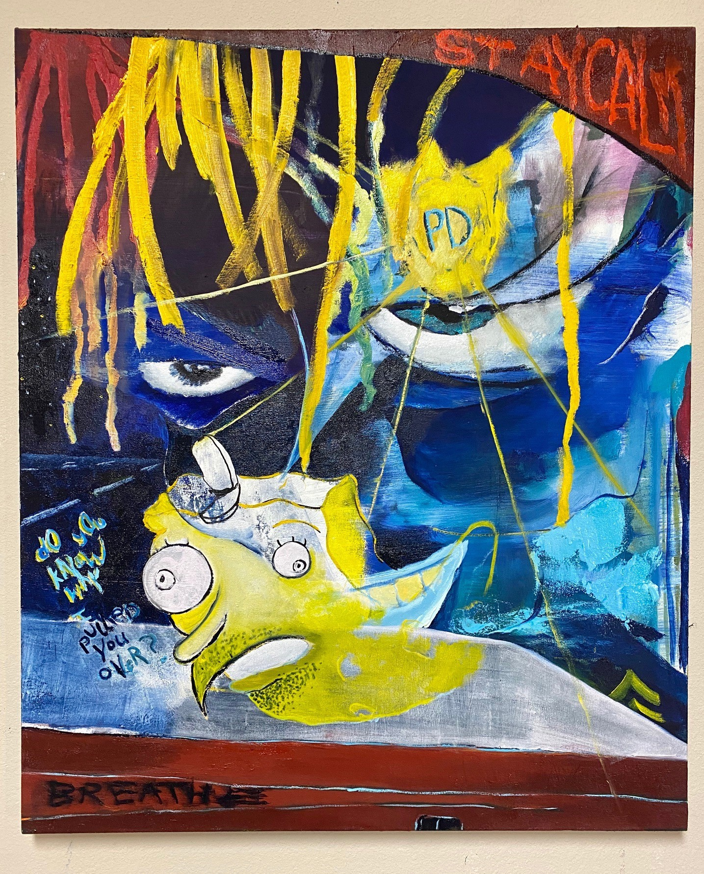 An abstract painting featuring the cartoon character SpongeBob SquarePants, being watched by the eyes of a police officer
