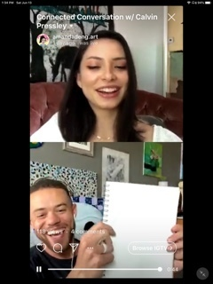 Two people video chat in a vertical split screen as the bottom figure holds up a blank sheet of paper with a smile