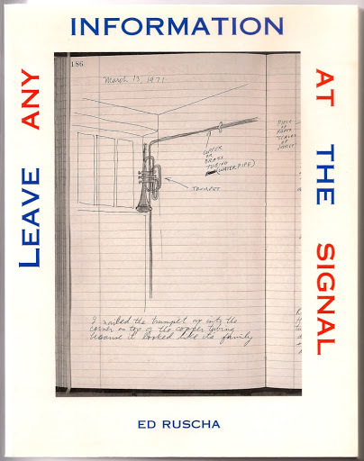 Cover art from the book titled Leave Any Information at the Signal, featuring hand-drawn illustrations and cursive text