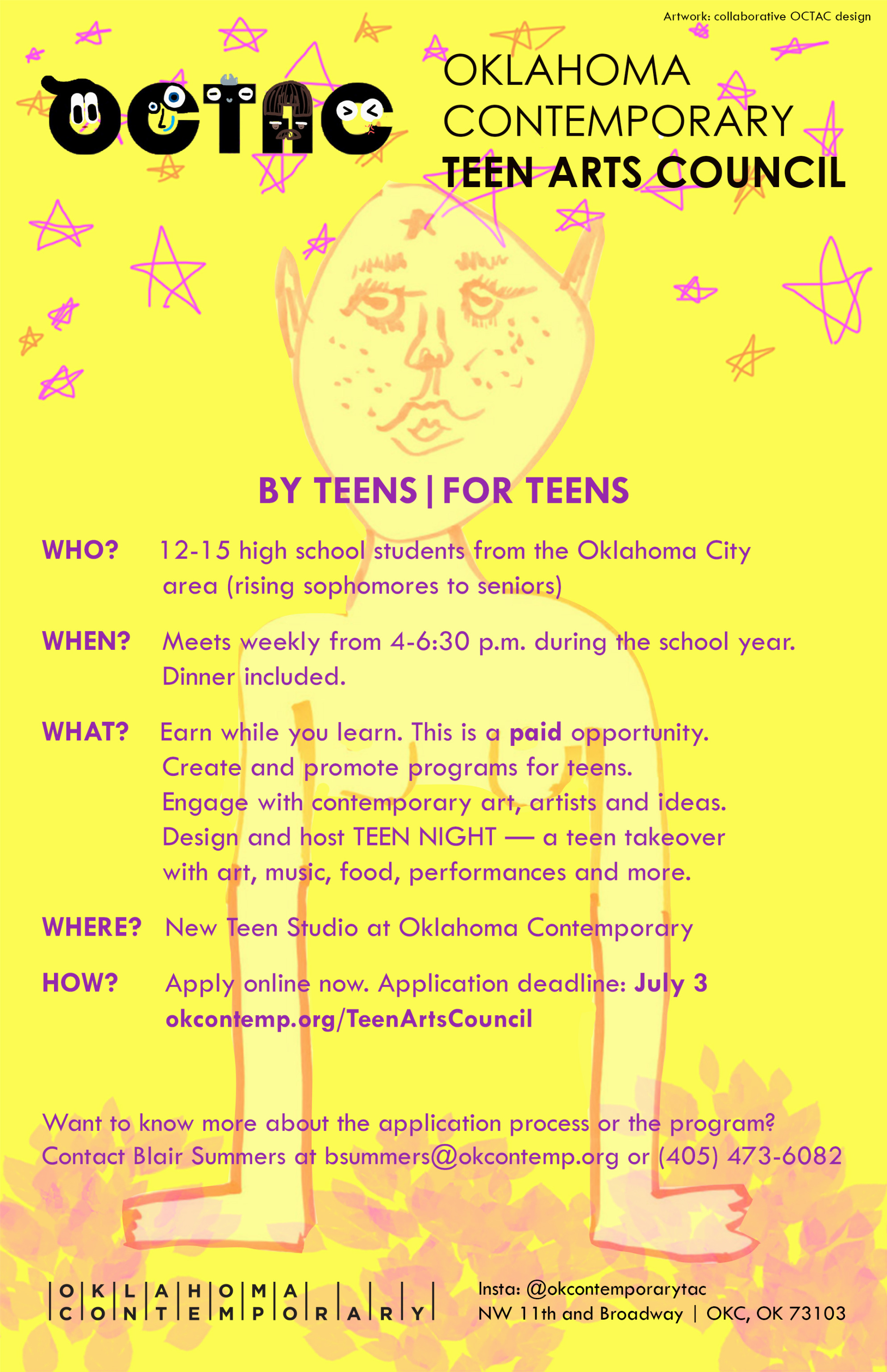 A bright yellow recruitment poster for the Oklahoma Contemporary Teen Arts Council, featuring an abstract handrawn creature surrounded by pink five-point stars