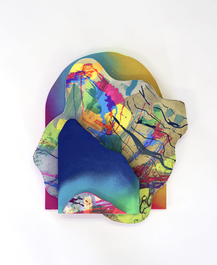 An abstract wooden sculpture spray-painted and screenprinted with vibrant neon colors
