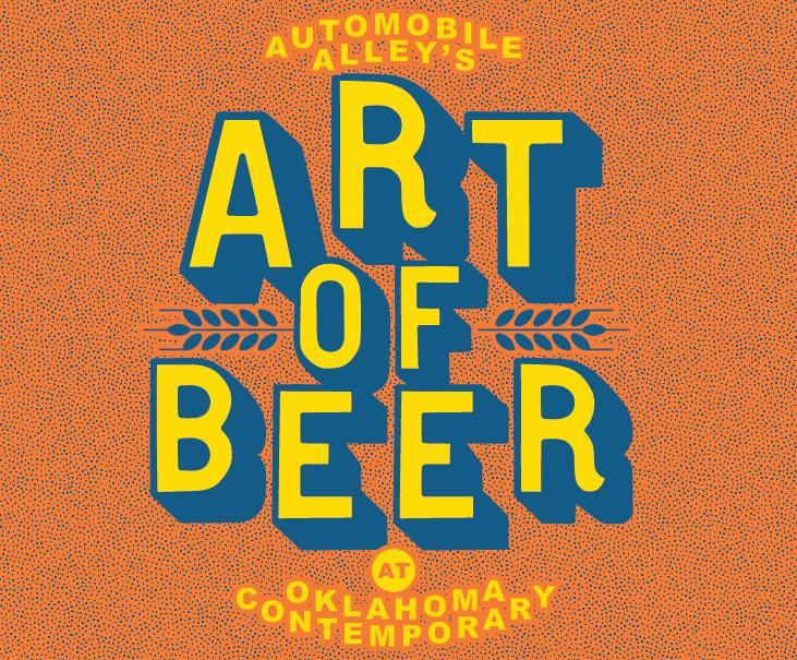 "Orange graphic features the words ""ART OF BEER"" in yellow"