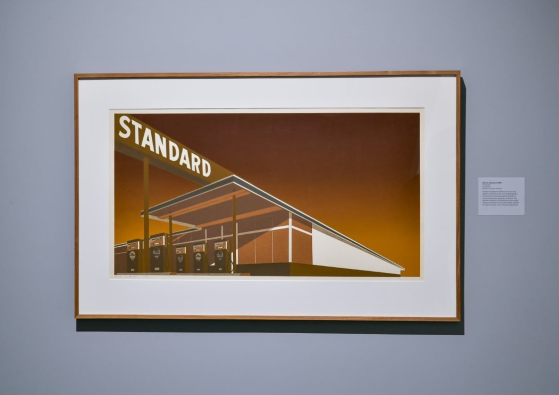 A painting of a Standard Oil gas station, rendered in dark browns and oranges