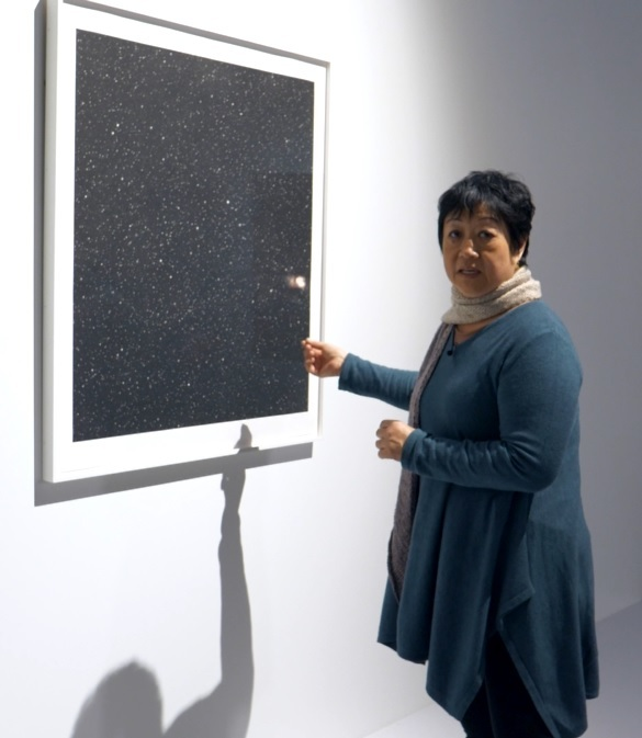 A figure in a blue dress points to an art print depicting a night sky