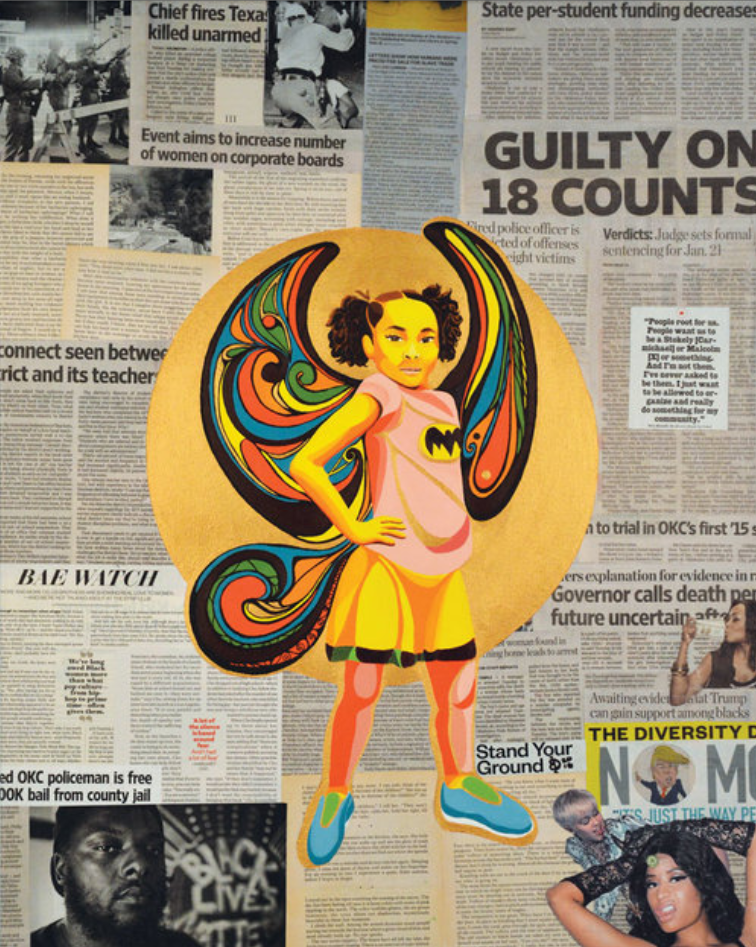A painting of a teen child with a Batman shirt and elaborate wings is collaged atop newspaper clippings