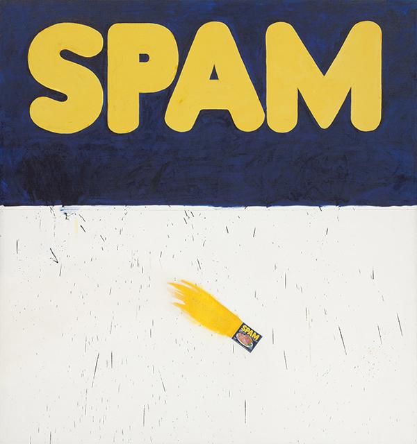 A pop art recreation of a Spam can