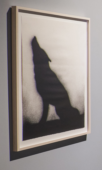 A silhouette of a coyote howling