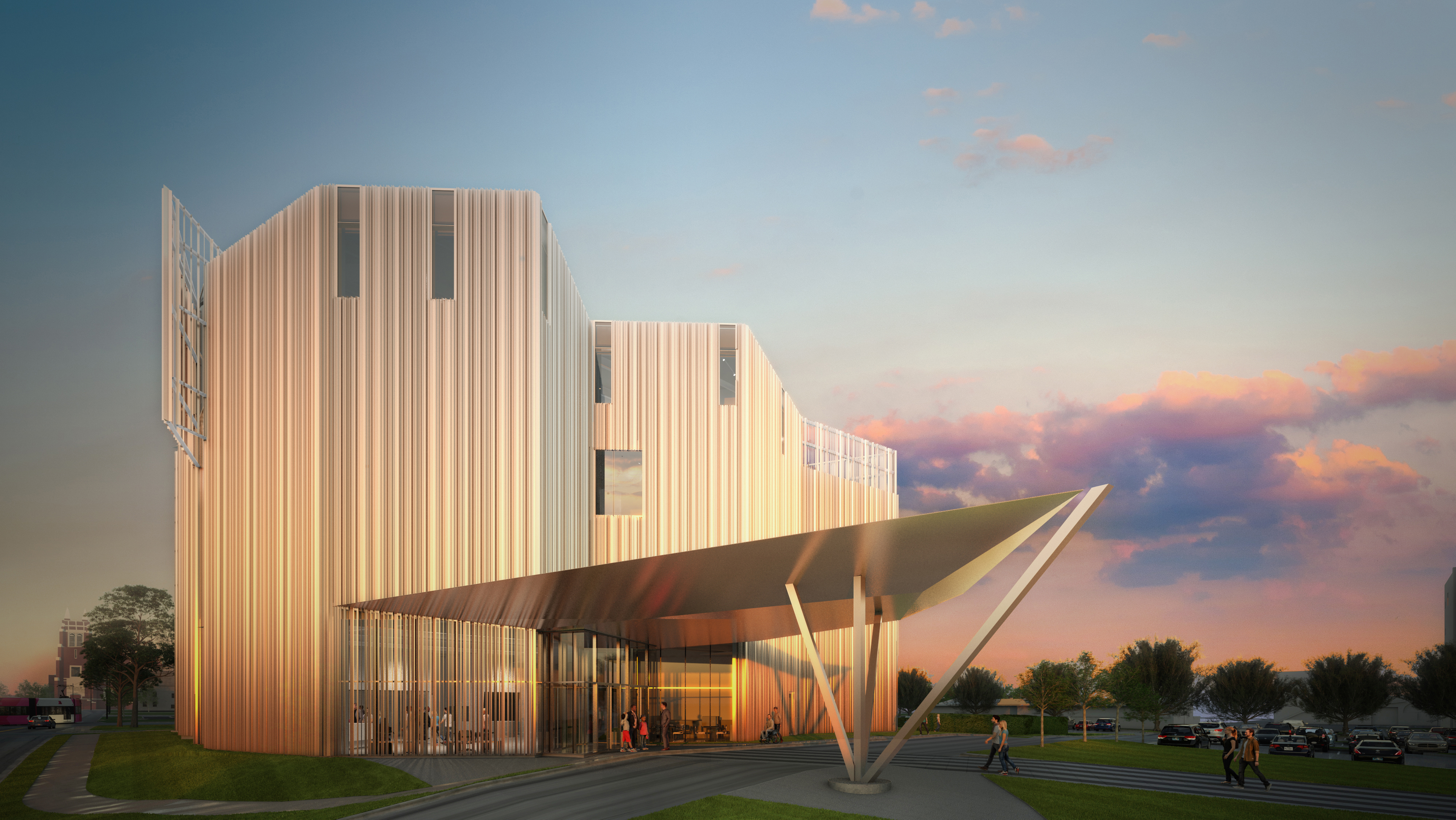 Rendered view of entrance to Oklahoma Contemporary's main building made of reflective aluminum fins against a sunset of dark blue sky fading to purple and pink clouds