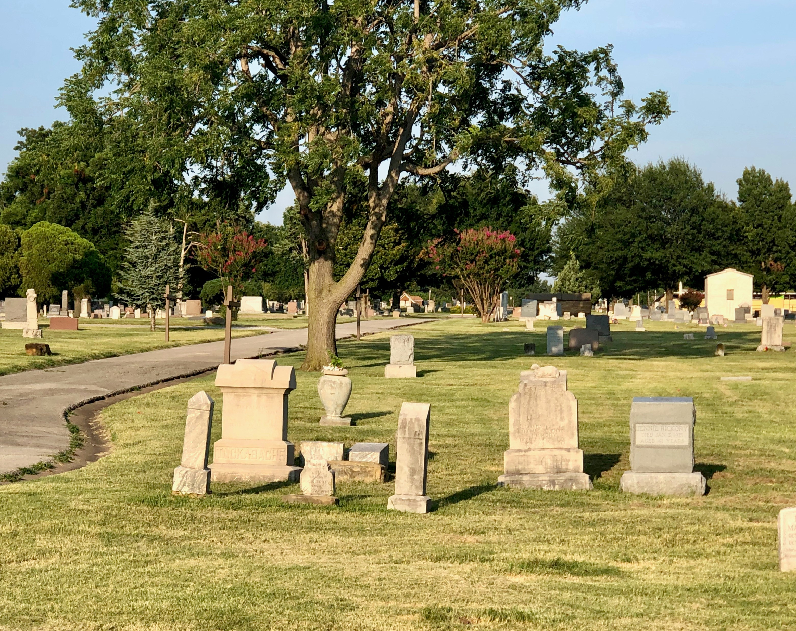 A cemetery plot features multiple gravestones on a green lawn