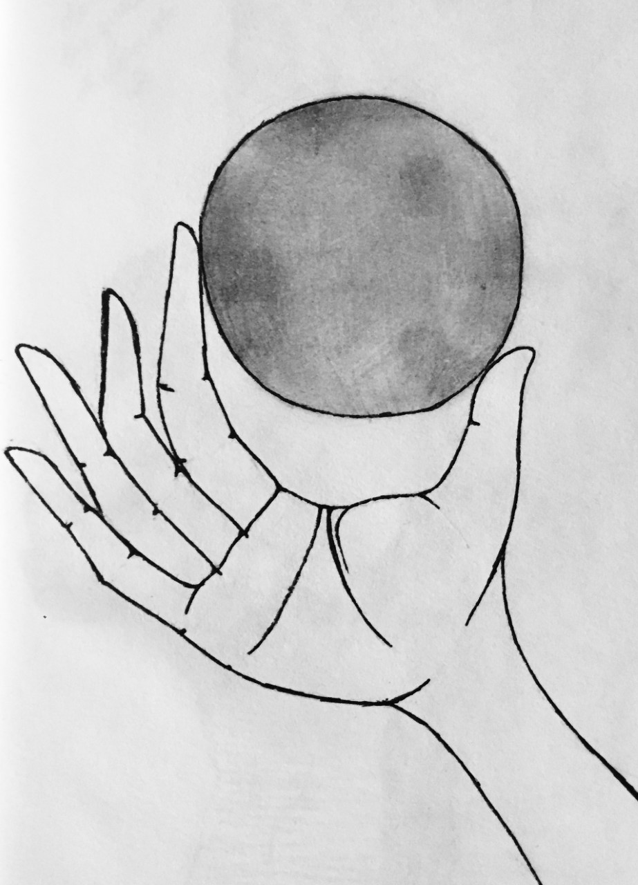 Black-and-white drawing of a right hand holding a sphere between its finger and thumb